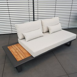 ICM garden lounge furniture Cannes aluminium Teak anthracite 2 seater