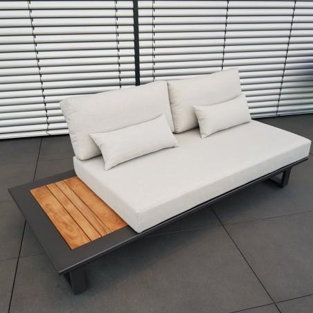 Muebles de salón de jardín ICM Cannes aluminio Teca antracita 2 plazas