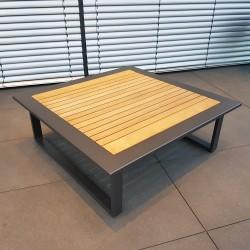 ICM mesa de jardín mesa de salón muebles de jardín Cannes aluminio Teca antracita mesa grande
