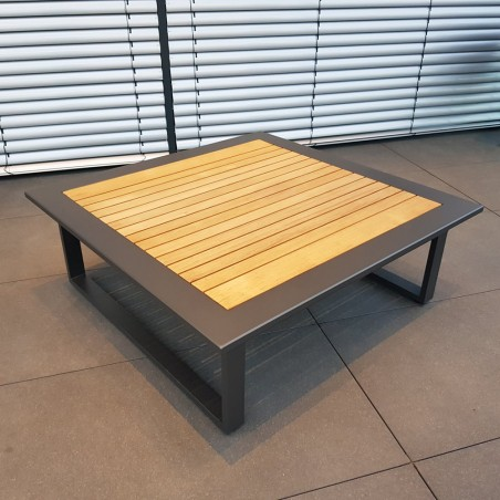 ICM Gartentisch Loungetisch Gartenmöbel Cannes Aluminium Teak Anthrazit großer Tisch