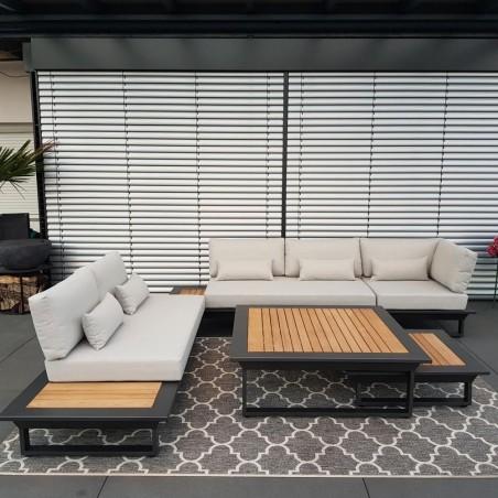 salón de jardín muebles de jardín juego de salón Cannes aluminio teca antracitaConjunto de módulos lounge