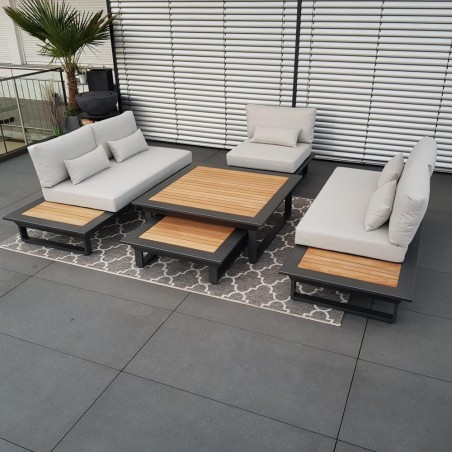 ICM garden lounge muebles de jardín Cannes teca aluminio antracita Conjunto de módulos lounge