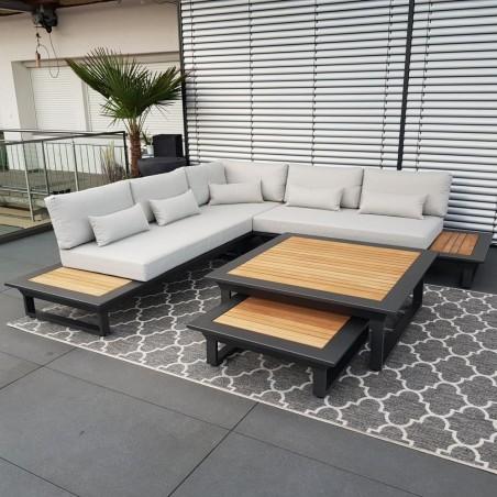 ICM garden lounge muebles de jardín Cannes teca de aluminio antracita Esquina redonda Conjunto de módulos lounge