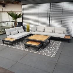 Muebles de salón de jardín ICM Cannes aluminio Teca antracita Conjunto de módulos lounge