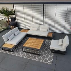 ICM jardín salón muebles de jardín aluminio aluminio aluminio teca antracita Conjunto de módulos lounge
