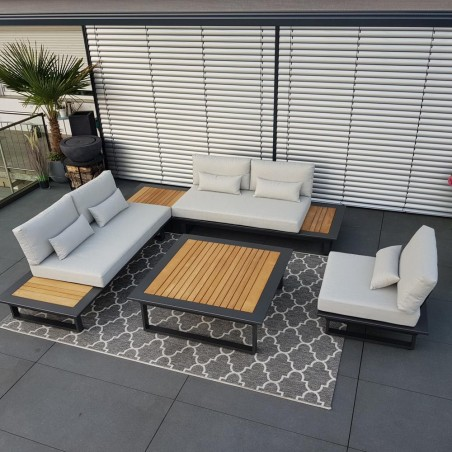 ICM garden lounge garden furniture aluminium Cannes aluminium Teak anthracite Lounge module set