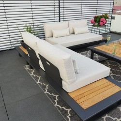ICM garden lounge terrace furniture Cannes aluminium Teak anthracite