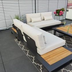 ICM jardín salón terraza muebles Cannes aluminio teca antracita Conjunto de módulos lounge