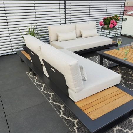 ICM garden lounge terrace furniture Cannes aluminium Teak anthracite Lounge module set