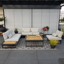 salon de jardin salon de jardin Cannes aluminium teck anthracite Ensemble de modules lounge