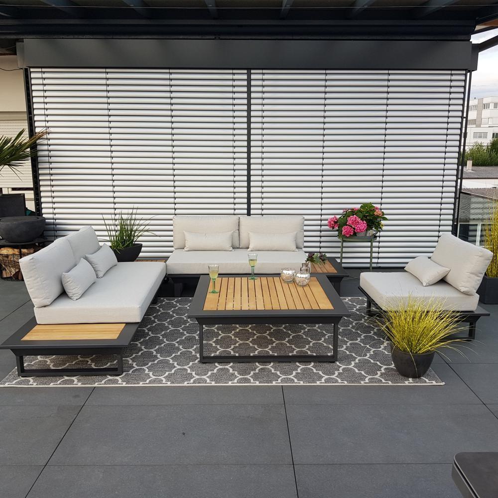Gartenlounge Gartenmöbel Cannes Aluminium Teak Anthrazit Lounge Modul Set Alu