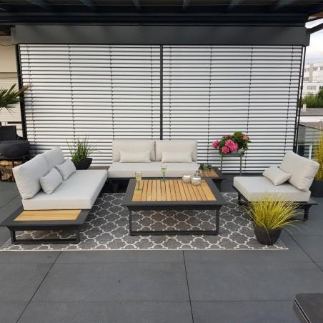 garden lounge garden furniture Cannes aluminium Teak anthracite Lounge module set aluminum