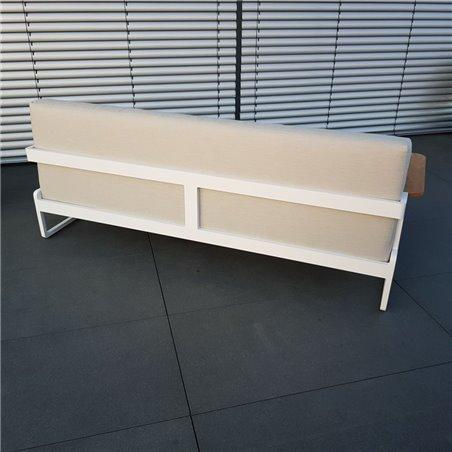 Muebles de salón de jardín ICM Cassis aluminio Teca blanco 3 plazas